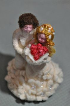 Wedding Cake Topper Nadel Filz FaserKunst von darialvovsky auf Etsy, $180.00