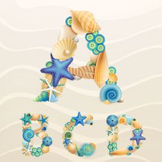 Set of marine life font on sand vector 07