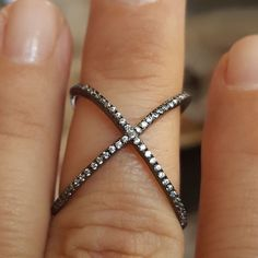 18k Black Gold / 925 Sterling Silver Topaz Crystal X Criss Cross sz 7  Ring   #MGK #X #Anytime
