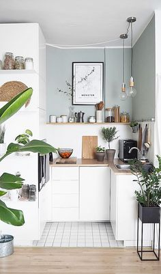The cutest little kitchen space 🌿(Image: Small Modern Kitchens, Home Kitchens, Modern Kitchen Decor, Kitchen Ideas, Kitchen Planning, Scandinavian Kitchen, Kitchen Pictures, Modern Homes, Küchen Design