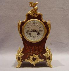 Antique French Napoleon III gilt bronze mounted rosewood marquetry bracket clock - Gavin Douglas Antiques
