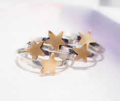 Gold Star Ring // Sterling Silver & Brass by TarnishedAndTrue