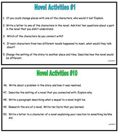 Novel Response Task Cards - 60 activities 5 per card. Use with any book or story! Great for centers and small or large groups, Laminate for future use. Upper elementary, middle and high school. Reading Resources, Reading Activities, Teaching Reading, Reading Strategies, Teaching Ideas, Learning, 6th Grade Reading, Middle School Reading, Teaching Language Arts
