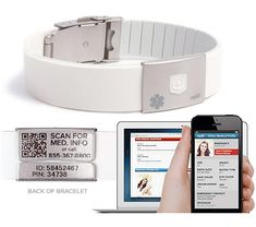 MyID Band- MyID takes the basic idea of the medical bracelet and adds the power of technology, with a simple QR code unlocking contact information and important medical information, like whether you're diabetic or have a heart condition. Personal Identification Bracelet, Complete online medical profile, Rapid QR code access, Fully adjustable fit, and Lifetime Warranty