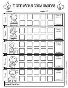 Positive Behavior Support - Weekly Sticker Chart For Good Choices