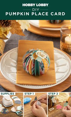 Spice up your table decor with a perfectly giftable paper pumpkin place card. Thanksgiving Place Cards, Thanksgiving Projects, Thanksgiving 2020, Diy Thanksgiving Decorations, Autumn Decorations, Fall Projects, Fall Decor, Diy Pumpkin, Paper Pumpkin