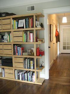 IKEA shelf // non-traditional doors to bedrooms