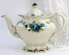 Elegant Sadler Teapot, Vintage Tea Pot England, Milky White, Blue Florals, 12563