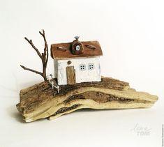 Купить 'Дом на пригорке' миниатюра, домик для интерьера - домик, весенний домик, домик-миниатюра