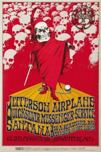 A Jefferson Airplane poster for their 1970s Grateful Dead benefit concert.