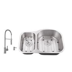 Superior Sinks 31.5-In X 20.5-In Brushed Satin Double-Basin Undermount