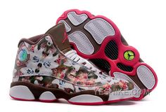 """http://www.yesnike.com/big-discount-66-off-girls-air-jordan-13-gs-floral-white-brown-red-womens-for-sale.html BIG DISCOUNT! 66% OFF! GIRLS AIR JORDAN 13 GS """"FLORAL"""" WHITE BROWN RED WOMENS FOR SALE Only $94.00 , Free Shipping!"""