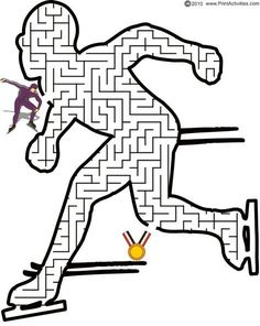 This speed skater maze is a terrific page to print for kids who love speed skating, even in the Olympics. Winter Camping, Winter Kids, Winter Sports, Olympic Idea, Olympic Games, Olympic Crafts, Mazes For Kids, 2018 Winter Olympics, Winter Activities