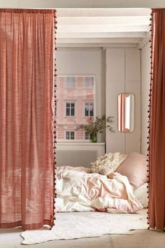 Urban outfitters curtains - 21 Products That Will Completely Transform Your Closet Closet Curtains, Diy Curtains, Bedroom Curtains, Kitchen Curtains, Closet Doors, Window Curtains, Vintage Curtains, White Curtains, Curtains With Pom Poms