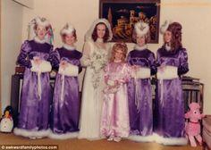 This bride had chosen a fur theme for her bridesmaids' muffs and unusual headwear