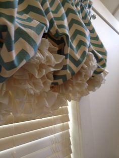 Turquoise and Cream Chevron Double Ruffle Balloon Valance Chevron Valance, Balloon Valance, Double Ruffle, Diy Room Decor, Baby Car Seats, Balloons, Diy Projects, Etsy Shop, Turquoise