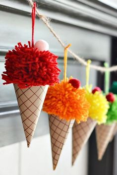 Make yarn pom poms and paper cones in to a bright and colorful DIY ice cream con. - Make yarn pom poms and paper cones in to a bright and colorful DIY ice cream cone garland. Cute Crafts, Kids Crafts, Diy And Crafts, Paper Crafts, Kids Diy, Creative Ideas For Kids, Craft Ideas For Adults, Adult Crafts, Crafts For Kids To Make