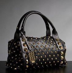 Jessica Simpson black studded bag – Handbags, Purses, and Bags – Zimbio Gucci Handbags, Handbags On Sale, Luxury Handbags, Purses And Handbags, Leather Handbags, Studded Handbags, Stylish Handbags, Hobo Handbags, Designer Handbags