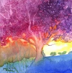 The Sketchbook Challenge: The Theme for March is Warm/Cool by Gina Lee Kim Watercolor Trees, Watercolor Paintings, Bird Paintings, Indian Paintings, Watercolor Portraits, Watercolor Landscape, Abstract Paintings, Magic Garden, Sketchbook Challenge