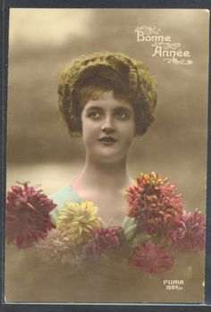 PB192-ART-DECO-FEMME-COIFFURE-MODE-FLEUR-HIGH-FASHION-LADY-HAIRSTYLE-PHOTO-dART