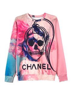 love the colors, the watercolor print and the SKULL