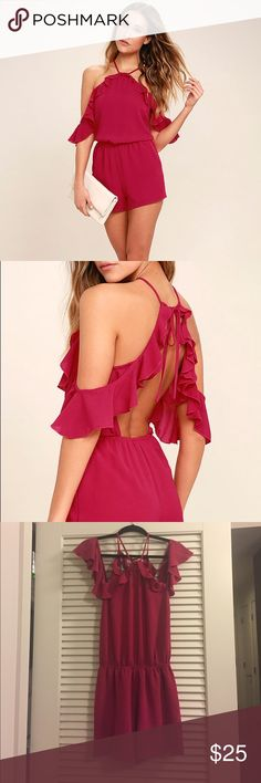 Lulus cranberry off the shoulder ruffle romper Never worn! This is a super cute and flirty cranberry romper perfect for going out. The neckline is high but then has an off the shoulder detailing making for a fun and different neckline. The back is completely bare so you have to go #braless or chicken cutlets! Lulu's Pants Jumpsuits & Rompers