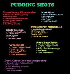 Explosion Dessert Pudding Shots for grown folks! I'm gonna make big bowls instead of shots! lolDessert Pudding Shots for grown folks! I'm gonna make big bowls instead of shots! Pudding Shot Recipes, Jello Pudding Shots, Jello Shot Recipes, Pudding Desserts, Chocolate Pudding Shots, Pudding Corn, Suet Pudding, Vanilla Pudding Shots, Rumchata Pudding Shots