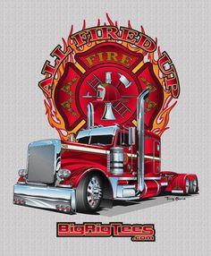 All Fired Up. T-shirt design for BRT's retail line of T-shirts. Hot Rod Trucks, Big Rig Trucks, Semi Trucks, Chevy Trucks, Custom Trucks, Custom Cars, Truck Store, Truck Tattoo, Truck Signs