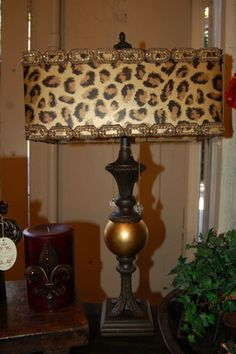 Leopard Print Lamp Shades: Recovered lamp shade in leopard, very posh! Animal print lampshade,Lighting