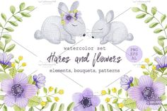 Watercolor hares and flowers by Natali_art on @creativemarket