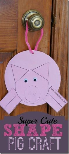 Super Cute Shape Pig Craft for Kids. This is also great for Sunday School Lessons on how Jesus Drove out Evil Spirits. Toddler, Preschool, Kindergarten, 1st grade, 2nd grade, and 3rd grade.