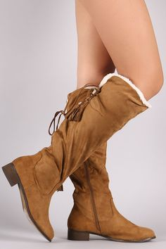 69ca4a9be4d Suede Tassel Lace-Up Fur Cuff Riding Knee High Boots