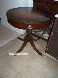 Vintage Leather Top Drum Table With Metal Claw Feet 1900-1950 photo  200 TBD