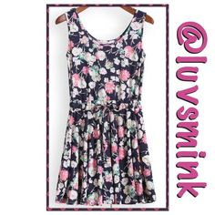 """NAVY FLORAL PLEATED TANK DRESS Short, scoop neck, tank dress with soft pleats and a self tie belt. Beautiful Navy background with pink and white small florals. Soft cotton blend; Bust 33"""", Waist34"""", and Length 30"""".  Super cute short dress, or layer over frilly shorts or slip.  NWOT.  PRICE IS FIRM, UNLESS BUNDLED. ONLY ONE REMAINING Boutique Dresses"""