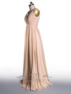 Simple Flowy Peach Pleated V-neck Bridesmaid Dress 5