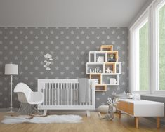 Upgrade your walls with this cute Nursery Stars Adhesive Wallpaper adding an beautiful and comfy environment to your baby's room. Nursery Wallpaper, New Wallpaper, Fabric Wallpaper, Baby Room Decor, Nursery Decor, Wall Decor, Furniture Covers, Furniture Decor, Kindergarten Wallpaper