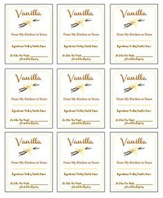 Free Printable Labels to gift your Homemade Vanilla Extract