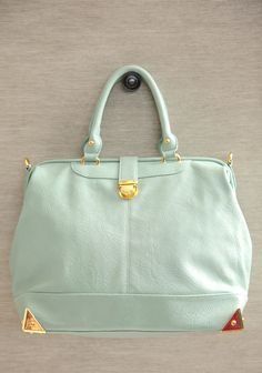 """City Girl Mint Purse 49.99 at shopruche.com. This mint leatherette satchel is the perfect carryall with gold colored hardware, an optional shoulder strap, and a push lock closure.13.75"""" L x 12"""" H x 6"""" W , -4.5"""" strap drop, -1 interior zipper pocket, -2 interior organizer pouches"""
