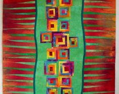Edredón del arte, tejido abstracto inspirado en una foto de las manzanas de cangrejo. Hecho de mi propia mano teñido de telas de algodón. Máquina de la pieza, densamente acolchado máquina. Bateo de poliéster. Medidas de 44 x 38. tiene una manga colgante.