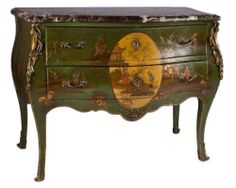 Antique French Louis XV Style Chinoiserie Bombe Commode Chest by E. Kahn