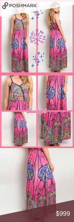 🆕 💕 Colorful ethnic print maxi dress. S-M-L Colorful ethnic print dress features a maxi hem length, empire silhouette and spaghetti straps. Perfect for a warm summer day. Material 100 poly. Made in USA 🇺🇸 Available in S-M-L Dresses Maxi