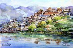 Shangrila China, Watercolor by Thanakorn