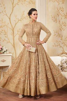 Beige Net Abaya Style Anarkali Suit - An Amazing Deals Everyday Indian Gowns Dresses, Eid Dresses, Pakistani Dresses, Indian Outfits, Bridal Dresses, Pakistani Clothing, Flapper Dresses, Silk Anarkali Suits, Salwar Suits Party Wear