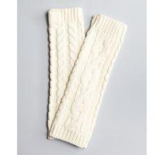 Diane Von Furstenberg ivory wool 'Roxy' cable knit fingerless gloves