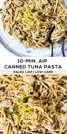 Made with hearts of palm pasta this pantry meal is convenient fast tasty and nutritious! (AIP Paleo Low-carb) Made with hearts of palm pasta this pantry meal is convenient fast tasty and nutritious! Dieta Aip, Easy Healthy Recipes, Paleo Recipes, Whole Food Recipes, Cooking Recipes, Pasta Paleo, Cena Paleo, Nightshade Free Recipes, Tuna Pasta