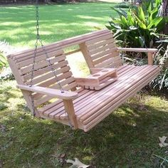 Porch swing with cup holders. This is genius! I need this for Saturday afternoons with Dustin, Amber, Ben and Shane!