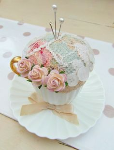 Tea Cup & Saucer Pin Cushion available from http://randombutton.co.uk/page22.htm & http://creative-connections.ning.com/photo/albums/random-button-s-craftfest-stall-nov-2012 £13.00