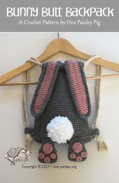 Great Totally Free Crochet for kids quick Tips Fun crochet pattern – cute toddler backpack (quick crochet project) Toys Patterns free k Fast Crochet, Cute Crochet, Crochet For Kids, Crochet Crafts, Crochet Baby, Crochet Projects, Funny Crochet, Sewing Projects, Crochet Rabbit