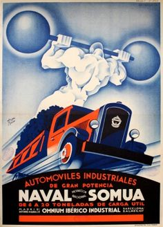 Naval Somua Art Deco Trucks, 1933 - original vintage poster by Anibal Tejada listed on AntikBar.co.uk