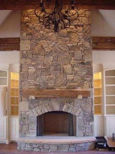 You could still do the front in all stone and then the other 3 sides wood… – Stone fireplace living room Fireplace Built Ins, Hearth, Home Fireplace, Living Room With Fireplace, New Homes, Farmhouse Fireplace, Fireplace, Stone Fireplace, Rustic House